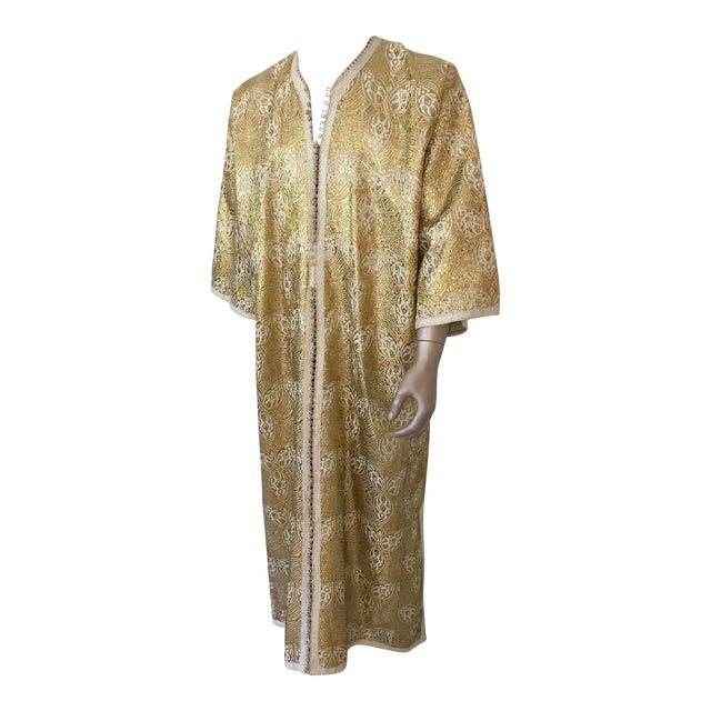 1960s Moroccan Caftan in Silver and Gold Brocade Vintage Gentleman Kaftan For Sale