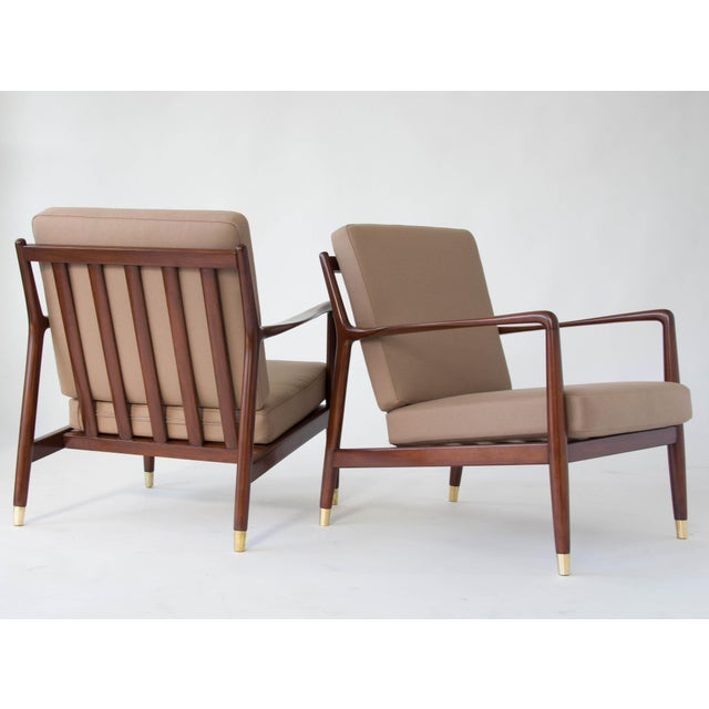 Folke Ohlsson for DUX Brass-Capped Leg Lounge Chairs - a Pair For Sale - Image 9 of 9