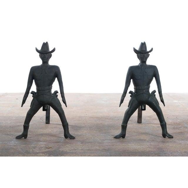 Vintage Cast Iron Figural Cowboy Andirons - A Pair - Image 3 of 9