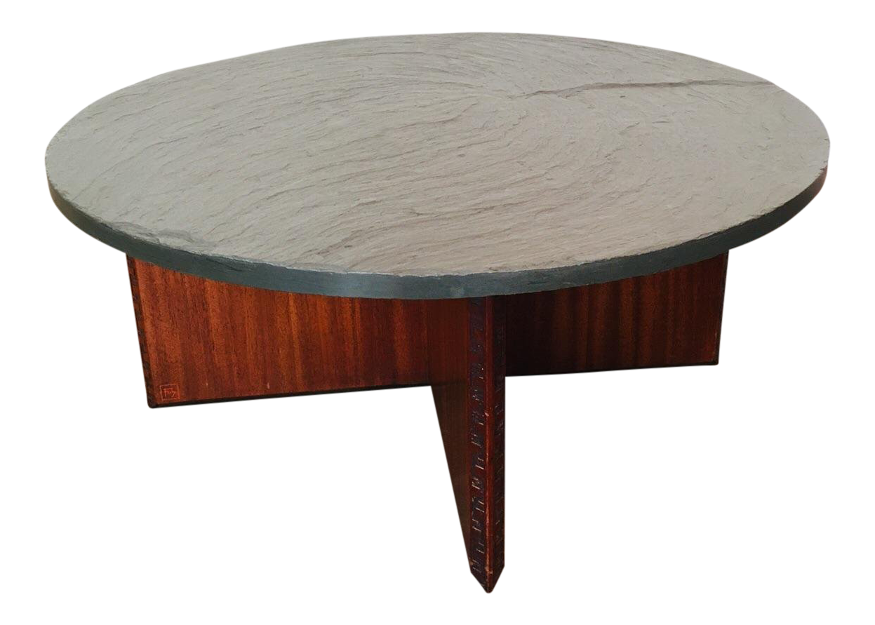 Frank Lloyd Wright For Henredon Coffee Table W/Slate Stone Top For Sale