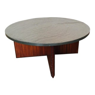 Vintage Frank Lloyd Wright for Henredon Coffee Table W/Slate Stone Top For Sale