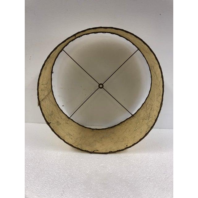 Plastic Vintage Mid Century Modern Beige Round Fiberglass Lamp Shade For Sale - Image 7 of 10
