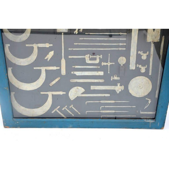 One-Of-A-Kind Painted Carpenters Tool Cabinet For Sale - Image 4 of 8