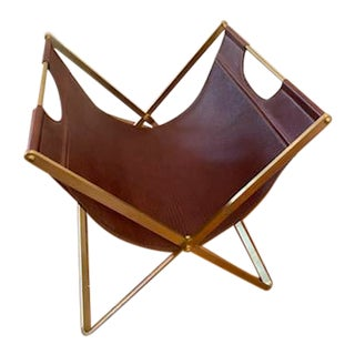 Handmade Leather & Brass Magazine Rack For Sale