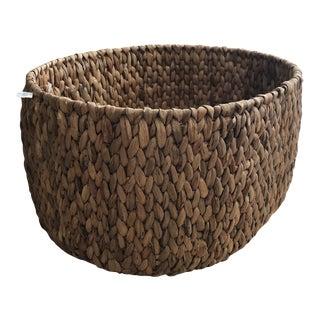 Crate & Barrel Woven Wicker Basket For Sale