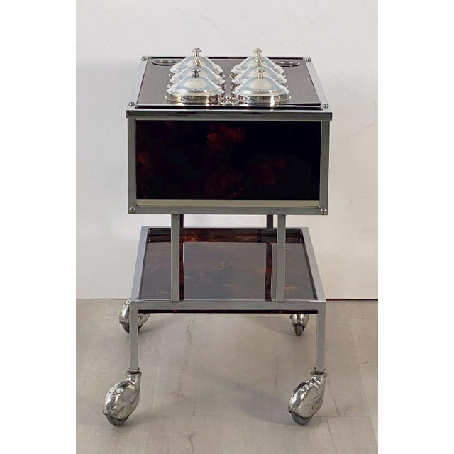 Italian Chrome and Faux Tortoise Ice Cream Cart For Sale - Image 10 of 13