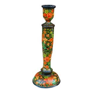 Black Floral Kashmiri Candle Holder For Sale