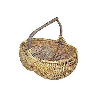 Vintage Rattan Buttocks Basket For Sale