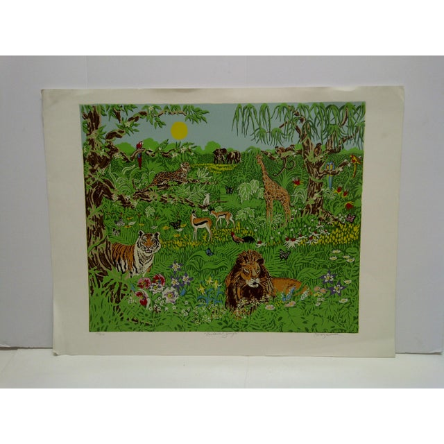 "Green Miriam Ecker Signed Numbered (123/275) ""Enchanted Jungle"" Print For Sale - Image 8 of 8"