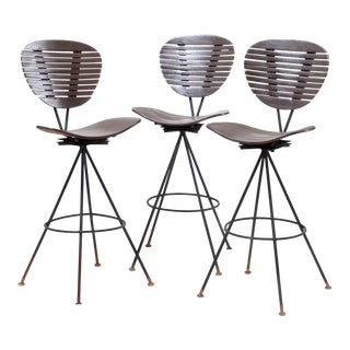 Mid-Century Modern Wood and Wrought Iron Bar Stools - Set of 3 For Sale