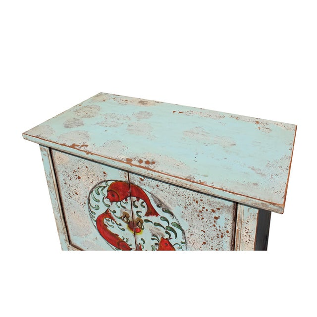 Chinese Distressed Light Pale Blue Fishes Graphic Table Cabinet For Sale In San Francisco - Image 6 of 8