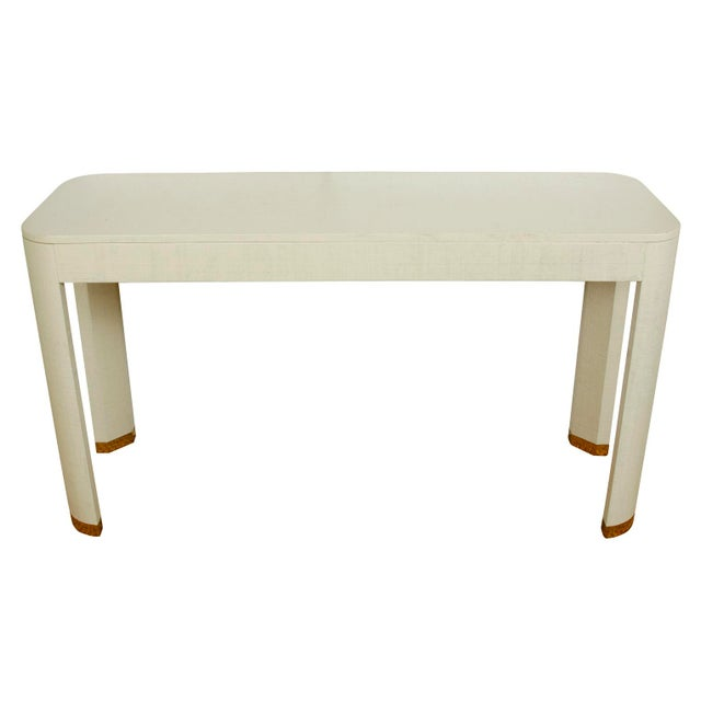 Mid-Century Modern White Linen Wrapped Console Table For Sale - Image 3 of 3