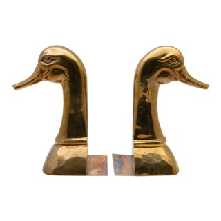 Brass Mother Goose Bookends - a Pair For Sale