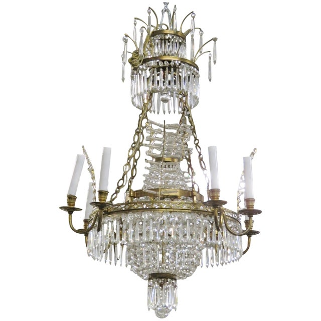 Russian Baltic Style Bronze & Crystal Chandelier - Image 1 of 3
