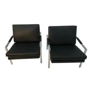 Vintage Milo Baughman Chrome & Black Vinyl Club Chairs -A Pair For Sale