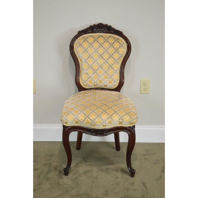 Late 19th Century Victorian Antique Carved Mahogany French Style Side Chair  For Sale - Image 5 - Victorian Antique Carved Mahogany French Style Side Chair Chairish