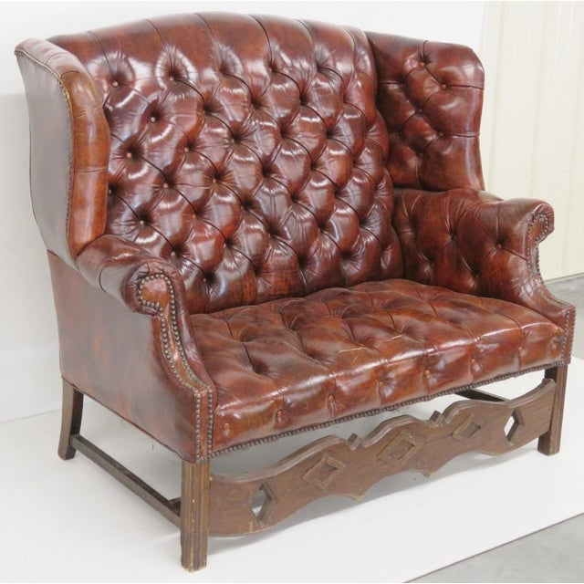 Brown Leather Chesterfield Settee & Carved Skirt - Image 2 of 7