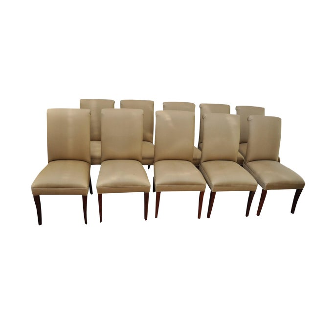 Taupe Silk Scroll Back Dining Chairs - Set of 10 - Image 1 of 10