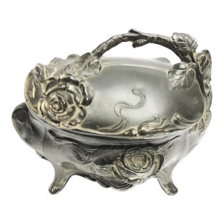 Art Nouveau Cast Metal Footed Jewelry Casket Box For Sale