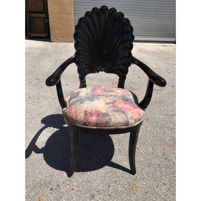 1940s Vintage Italian Ebonized Venetian Grotto Shell Back Dining Chairs- Set of 8 For Sale - Image 11 of 13