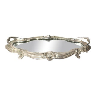 Antique French Louis XVI Silver Mirrored Plateau For Sale
