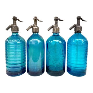 Shades of Blue Vintage Seltzers - Set of 4 For Sale