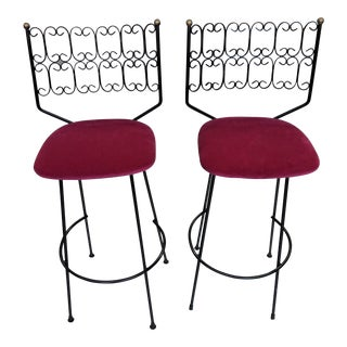 1960s Arthur Umanoff Era Bar Stools-a Pair For Sale
