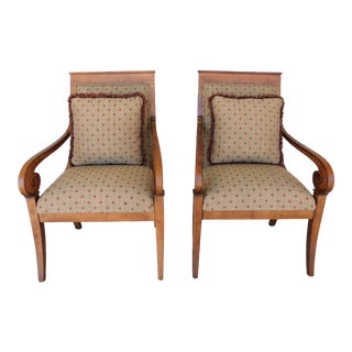 Ethan Allen Regency Style Club Accent Arm Chairs - a Pair For Sale