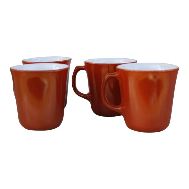Vintage Corningware Rust Orange Milk Glass Cups - Set of 4 For Sale