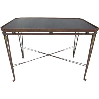 French Mid-Century Modern Neoclassical Gilt Iron Coffee Table by Maison Jansen