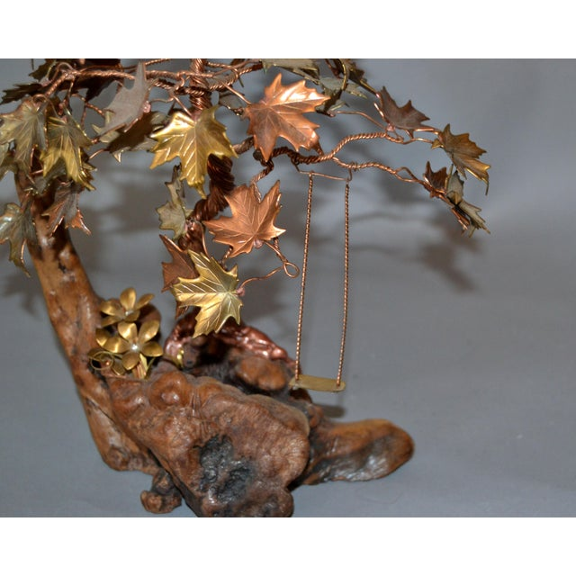 Handcrafted Bonsai Tree Brass, Copper, Bronze Sculpture on Burl Wood Base For Sale - Image 9 of 13