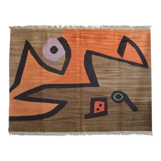 Paul Klee - Silence of the Angel - Inspired Hand Woven Area Rug - Wall Rug 3′11″ × 5′10″ For Sale