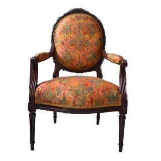19th Century Louis XVI Carved and Upholstered Armchair For Sale