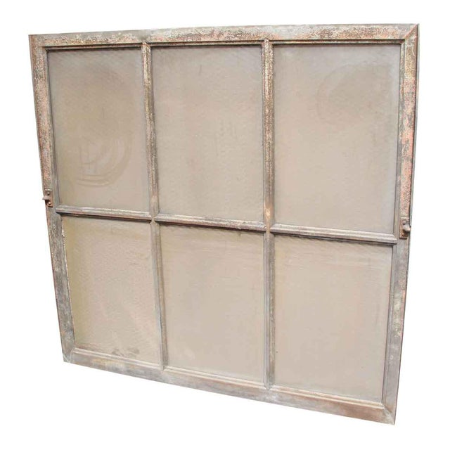 Sturdy steel frame window with original chicken wire glass. Vintage colors of the frames vary. Priced each.