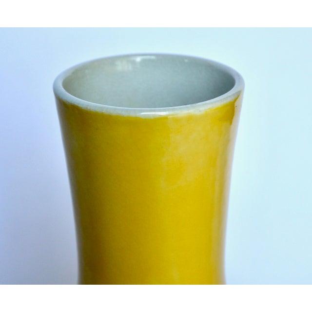 Asian Chinese Yellow Glazed Gooseneck Large Vase For Sale - Image 3 of 5
