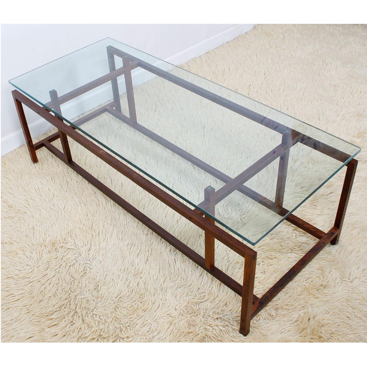 Komfort Danish Rosewood U0026 Glass Top Coffee Table   Image 3 Of 11