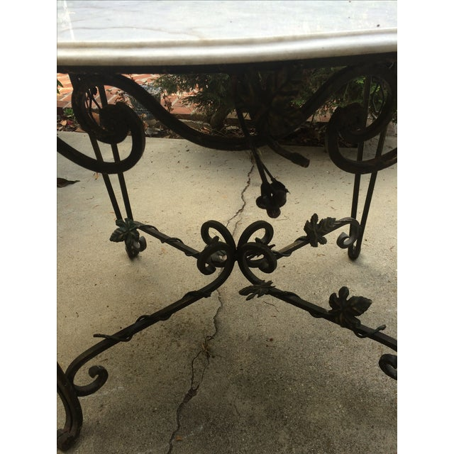 Solid Marble Top Beveled Wrought Iron Table - Image 10 of 10