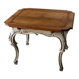French Inlaid Oak Tea Table For Sale