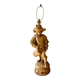Figural Victorian Conquistador Soldier Bronzed Chalkware Sculpture Lamp For Sale