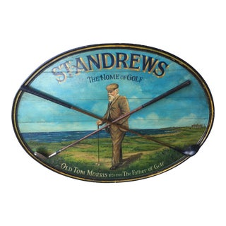 Hand Painted St Andrews Golf Advertising Wood Sign