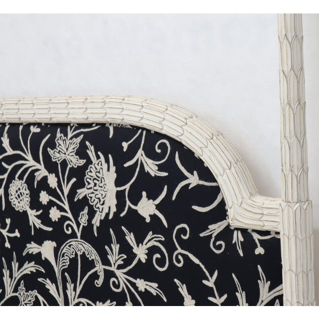 Upholstered Decorative Black and White Fabric King Size Poster Headboard For Sale - Image 6 of 12