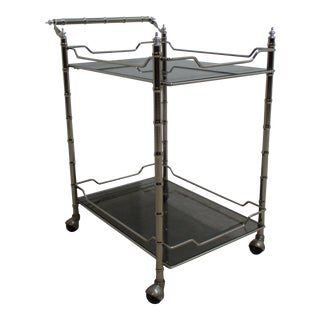 Vintage Mid Century Chrome Faux Bamboo Bar Cart For Sale