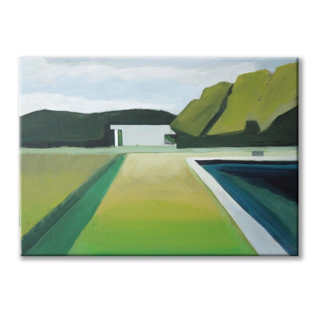 """Abstract Landscape Poolside Painting - 30"""" x 40"""" - Image 3 of 5"""