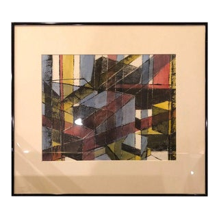 1980s Mid Century Geometric Abstract Original Pastel For Sale