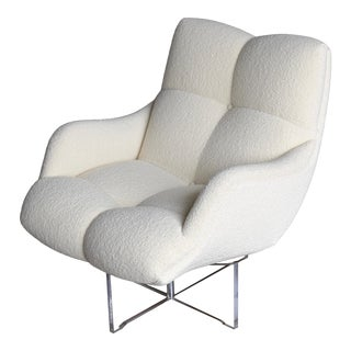 1970s Mid-Century Modern Vladimir Kagan Lucite and Bouclé Swivel Lounge Chair For Sale