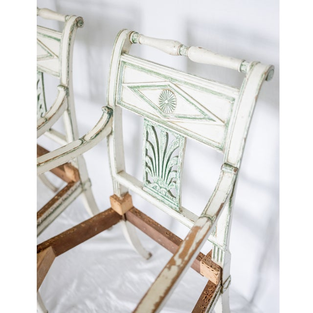 French 19th Century French Empire Painted Fauteuil Frames - a Pair For Sale - Image 3 of 4