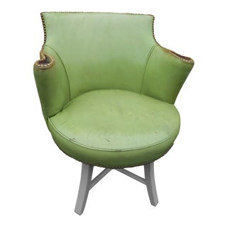 1950s Distressed Green Leather Wormley Dunbar Swivel Chair For Sale