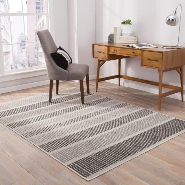 2010s Jaipur Living Cado Indoor/ Outdoor Striped Area Rug - 7′6″ × 9′6″ For Sale - Image 5 of 6