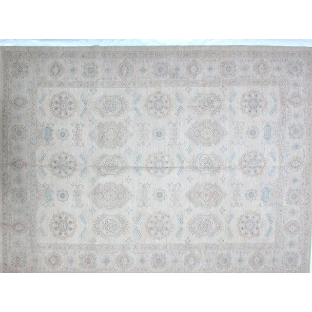 Wool pile very fine vegetable dye Khotan style carpet hand woven in Pishavar. Mint condition.