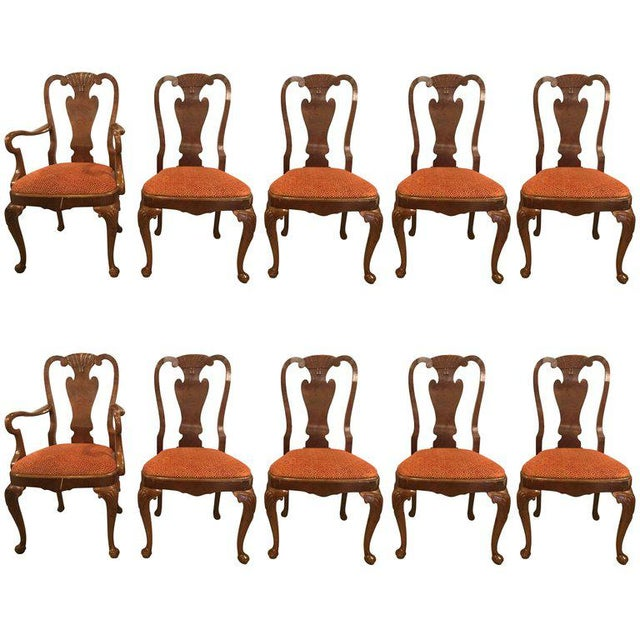 Set of Ten Queen Anne Style Dining Chairs, Pair of Arm and Eight Side Chairs For Sale - Image 11 of 11
